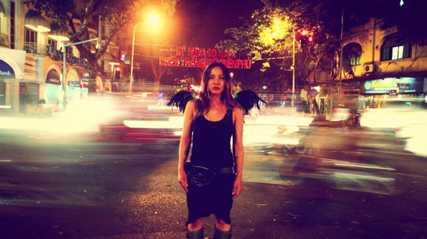 Amidst night traffic on a visit to Vietnam's capital, Hanoi, in 2014.