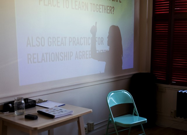 Park asks her students to weigh in on agreements with a thumbs up or a thumbs down during class.
