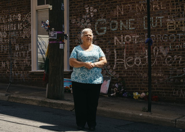Susan Bro stands on 4th Street SE in Charlottesville, Va., where where her daughter Heather Heyer was killed. Heyer died in August 2017 during a violent white nationalist rally.