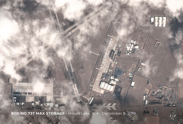 In this December satellite view, you can see stored Boeing 737 jets filling most of the available parking areas at Grant County International Airport.