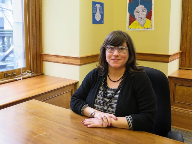 Chloe Eudaly's new office at Portland City Hall is still pretty spartan, except for a few prints by the Texas Tim Kerr, whose work was on view in 2016 at the North Portland gallery run by the father of Eudaly's son.