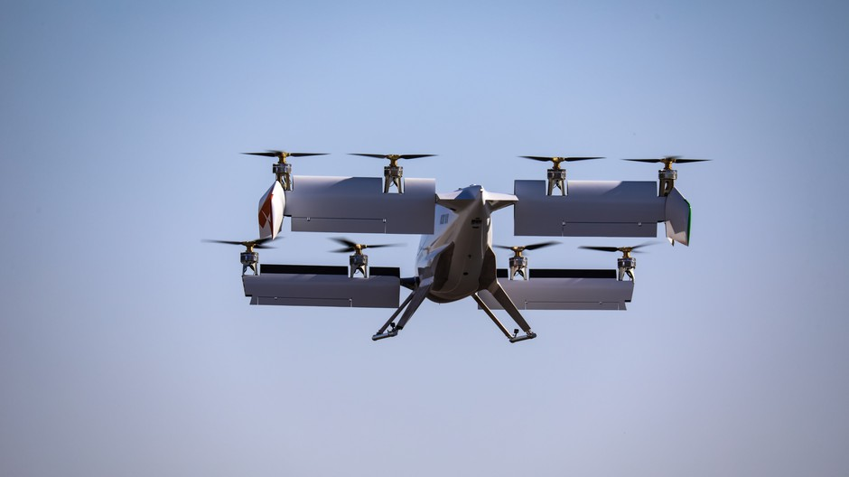 The experimental Vahana aircraft can fly faster than 100 mph after its wings tilt forward after vertical takeoff.