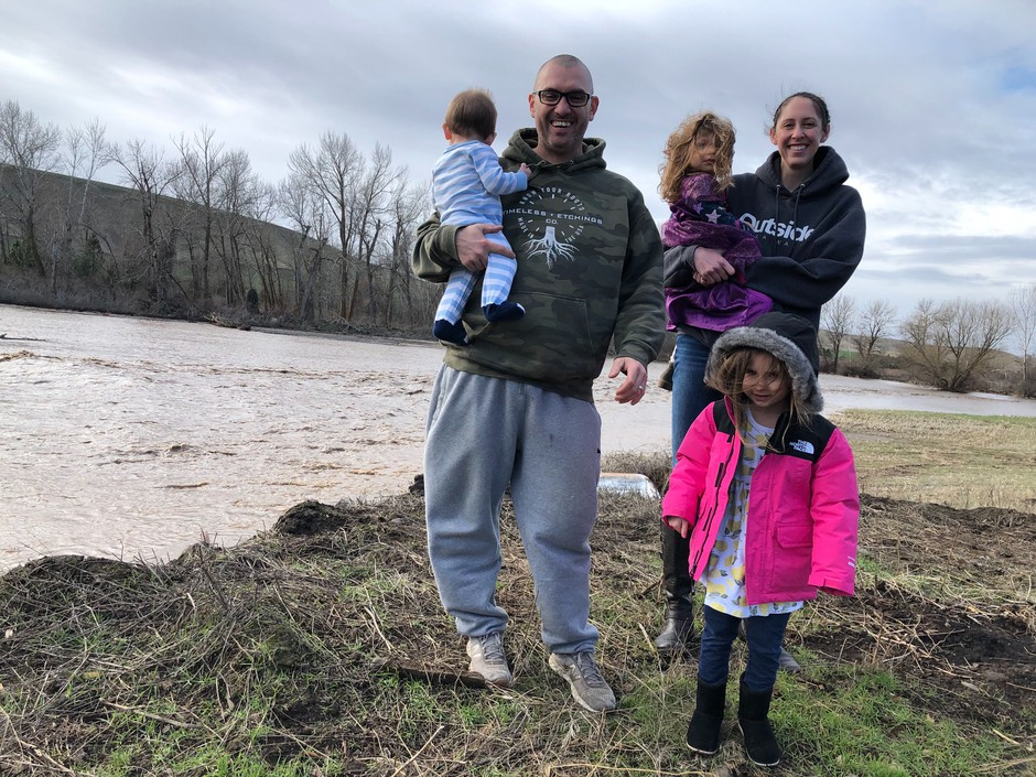 J.C. and Katie Biagi live outside of Waitsburg, Wash. with their small children, Areiana, 4, Frankie, 2 and Giovanni, 8 months. The river behind their home came up very quickly late last week and was frightening to the family.