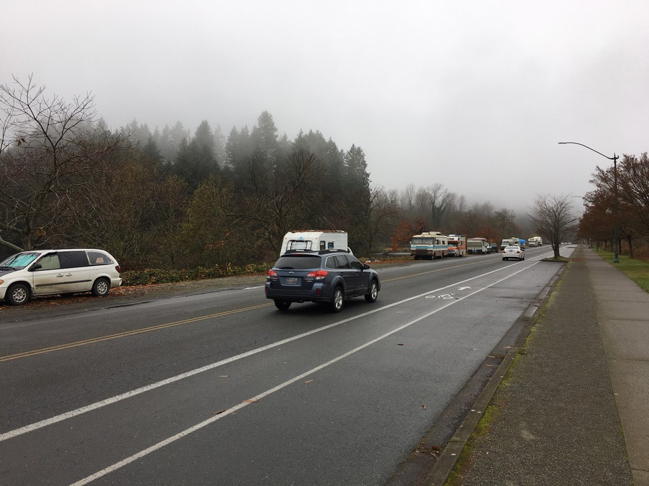 Motorhomes and campers have taken up residence along the shoulder of Deschutes Parkway in Olympia, which is a part of Washington's Capitol campus. The Washington state Department of Enterprise Services is now considering enacting parking restrictions.