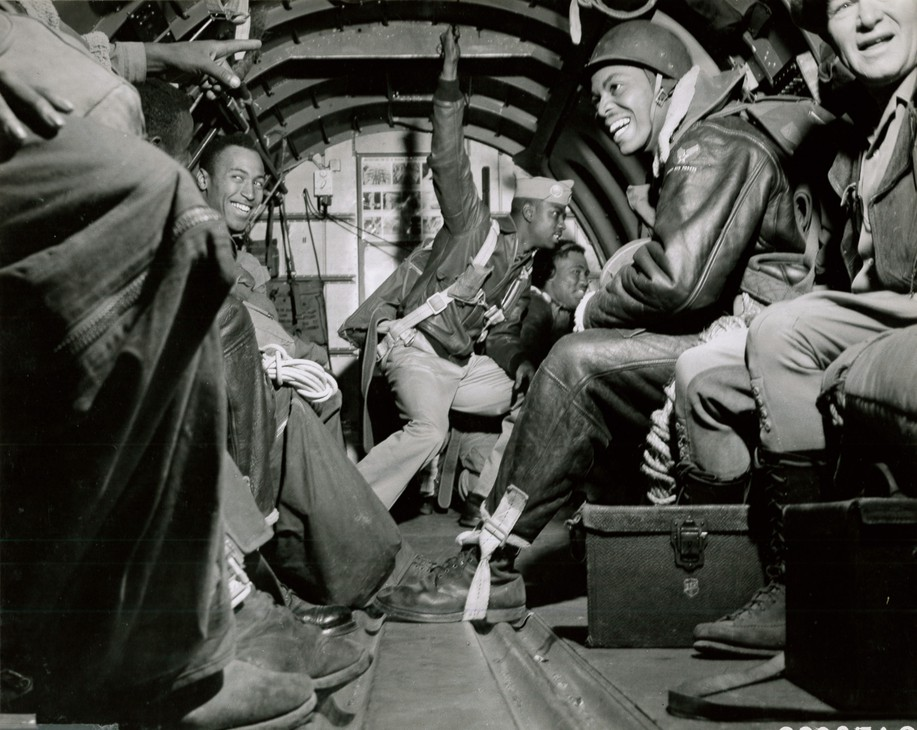 Pendleton-based Army paratroopers get ready to jump over a forest fire in summer 1945.