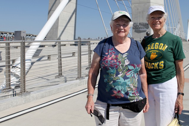 Sisters Jean and Margie O'Neill come from a family of iron workers. In fact, their father, John O'Neil, helped to build a number of Portland bridges. The sisters have made it a tradition to cross each new bridge when they open in honor of him.