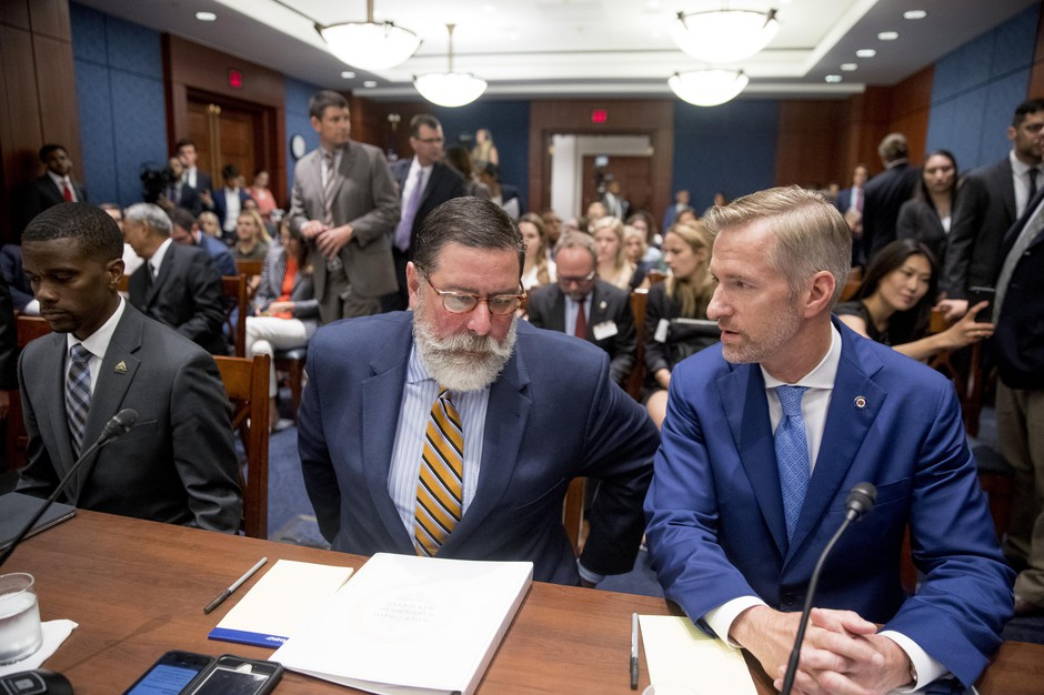 From left, St. Paul Mayor Melvin Carter, Pittsburgh Mayor Bill Peduto, and Portland Mayor Ted Wheeler, appear before a Senate Democrats' Special Committee on the Climate Crisis on Capitol Hill in Washington, Wednesday, July 17, 2019.