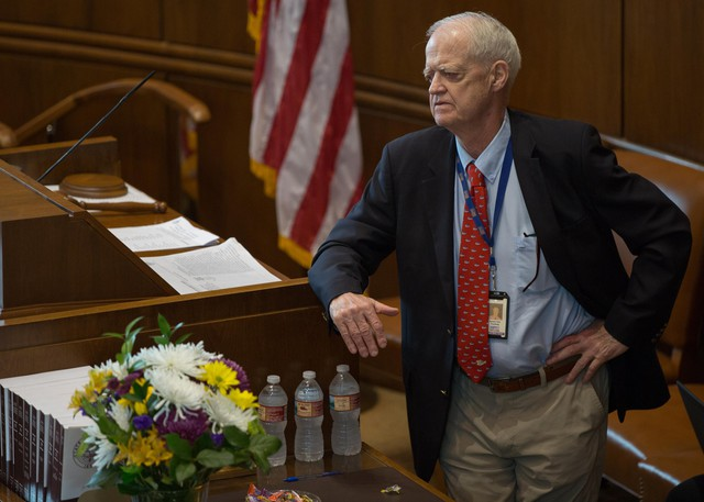 Democratic Oregon Senate President Peter Courtney watches as senators offer their support for a resolution supporting those who fought and died in the Modoc War in the Senate chambers at the Oregon Capitol in Salem, Ore., Tuesday, April 2, 2019.