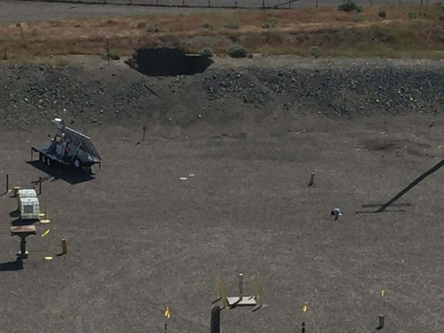 A 20-foot by 20-foot hole can be seen in the roof of a tunnel that collapsed at the Hanford Nuclear Site in Washington state, May 9, 2017.