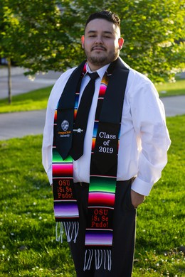 Juan Navarro on graduation day at Oregon State University. His master's thesis was focused on the retention and support of undocumented students in higher education.