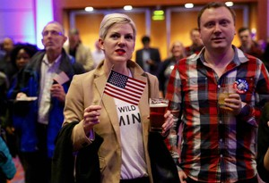 Democrats watch as the results of the election come through at the Oregon Convention Center in Portland, Or.
