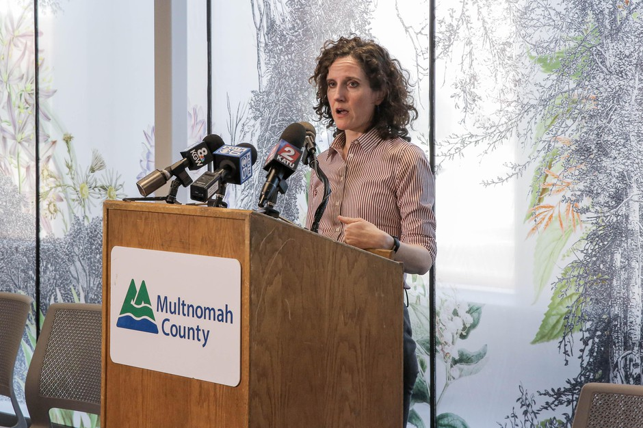Tri-county health officer Dr. Jennifer Vines briefs reporters at the Multnomah County Health Department in Portland, Ore., March 9, 2020. The first presumptive positive case of COVID-19 in a person living in Multnomah County brings the state's total to 15.