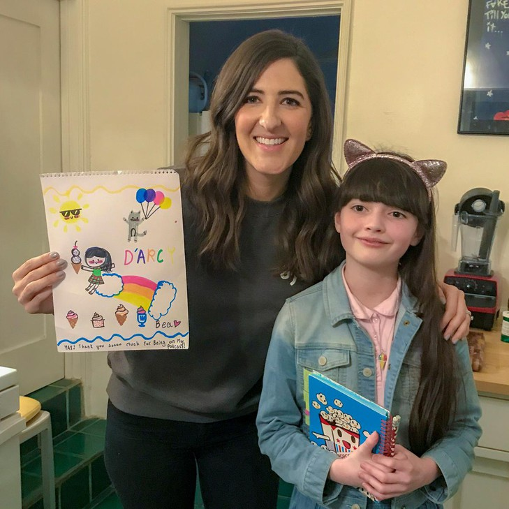 """Bea Red Star Fletcher, creator and host of """"Bea's Big Laughs,"""" interviewed comedian D'Arcy Carden for her podcast."""