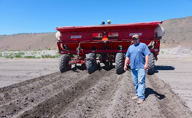 Farmer Ryan Hartman grows organic and conventional potatoes on the Tule Lake refuge.