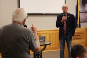 A Harney County resident brings his concerns to Rep. Greg Walden, R-Hood River, at a town hall meeting in Burns, Ore., on Aug. 29, 2019.