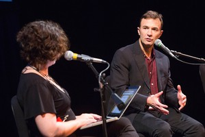 "Peter Ames Carlin speaks with OPB's ""State Of Wonder"" host April Baer at Wordstock at the Dolores Winningstad Theatre in Portland, Oregon, Saturday, Nov. 5, 2016."