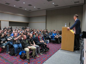 Oregon Sen. Ron Wyden addresses hundreds of cybersecurity experts at the BSides conference in Portland Friday. He says three important computer issues are likely to be discussed in Congress over the coming months.