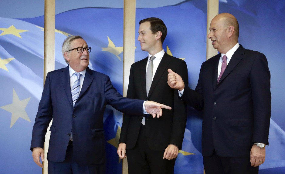 Senior Advisor to the President of the United States Jared Kushner, center, and US Ambassador to the EU Gordon Sondland, right, are greeted by European Commission President Jean-Claude Juncker prior to a meeting at EU headquarters in Brussels, Tuesday, June 4, 2019.