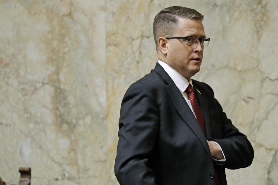 Rep. Matt Shea, R-Spokane Valley, leaves the House floor, Monday, Jan. 13, 2020, following the first day of the 2020 session of the Washington Legislature at the Capitol in Olympia, Wash.