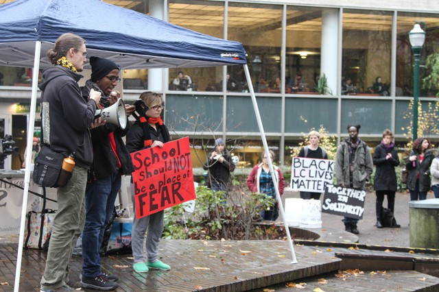 The Portland State University holds a rally in support of Lewis and Clark College after a reported attack on a black student at the smaller school.