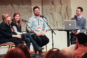 Carson Ellis, Maile Meloy, Colin Meloy and Aaron Scott at Wordstock in the Portland Art Museum.