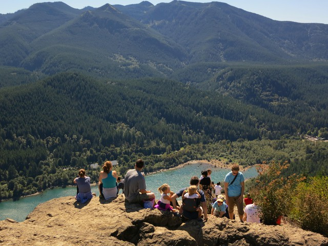 Hikers on Rattlesnake Ledge near North Bend, Washington.