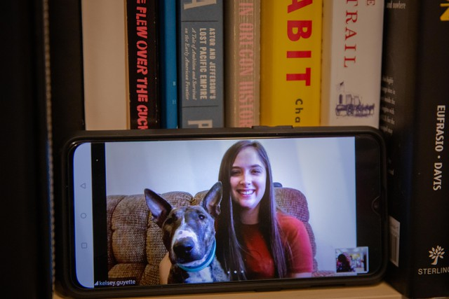 Kelsey Guyette, a student at Eastern Oregon University, and her dog Kahlua pose for a portrait during a Zoom video call on Thursday, April 16, 2020. Eastern Oregon University has shifted to remote learning amid the coronavirus pandemic.