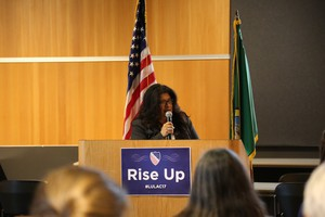 Diana Perez is the director of the Washington State League of United Latin American Citizens. She spoke at an event to address fears related to immigration and immigration enforcement in Vancouver, Washington, Thursday, March 9, 2017.