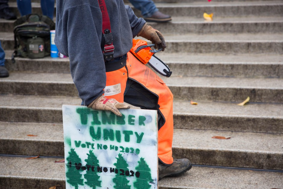 A man holds a Timber Unity sign at a rally at the state Capitol in Salem in June.