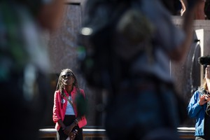 Portland City Council candidate Jo Ann Hardesty at a protest in downtown Portland, July 1, 2018.