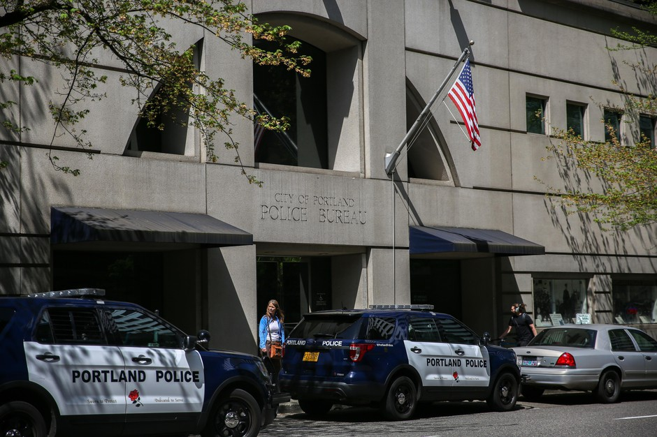 The Portland Police Bureau is pictured on April 26, 2018.
