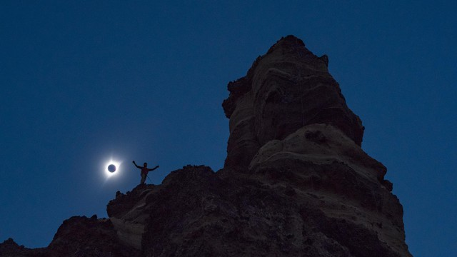 Mountaineer Jared Smith basks in the moment of totality.