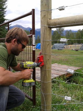 Russ Talmo, with Defenders of Wildlife, building an electric fence. Electric fences keep bears away from people's property.