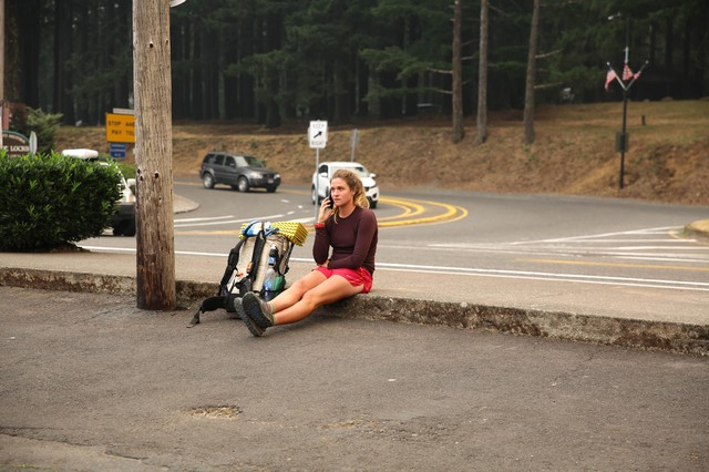 Jess Dustow from Sydney, Australia, was hiking the Pacific Crest Trail when the Eagle Creek Fire broke out near Cascade Locks Saturday, Sept. 2, 2017.