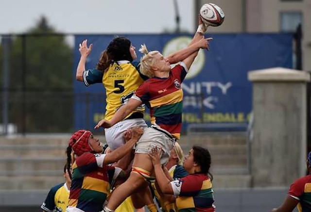 Rachel Johnson (right), a flanker for Oregon Sports Union Rugby, has been selected for the U.S. National Women's Rugby team.