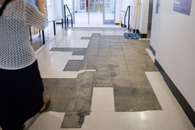 In July, tiles are missing on the first floor at Franklin High School.