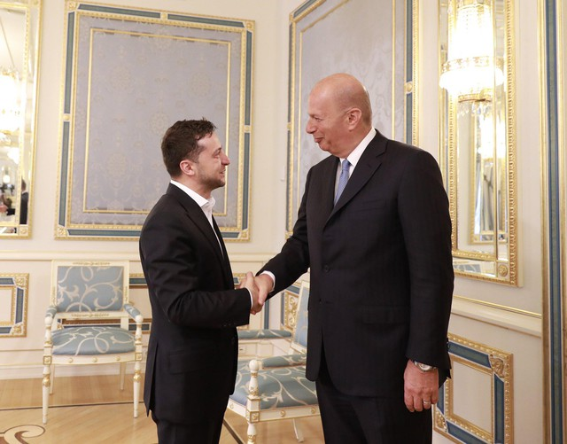 U.S. Ambassador to the E.U. Gordon Sondland shakes hands with President Volodymyr Zelensky of Ukraine in a photo posted to the ambassador's official Twitter account on July 26, 2019.