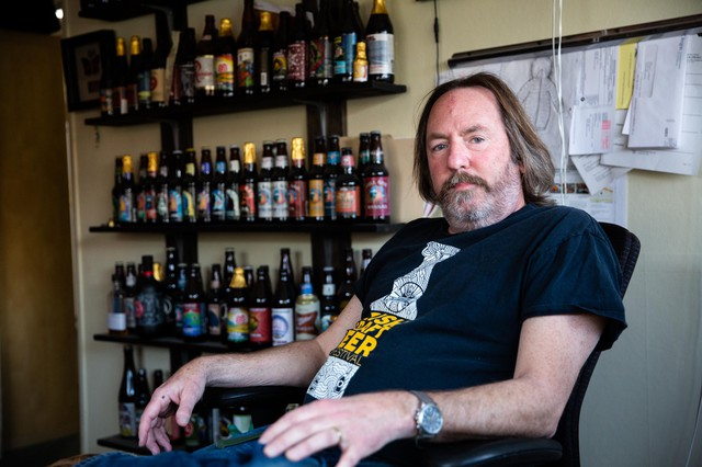 Double Mountain Brewery owner and brewmaster Matt Swihart sits for a portrait in his office on March 3, 2020, in Hood River, Ore.