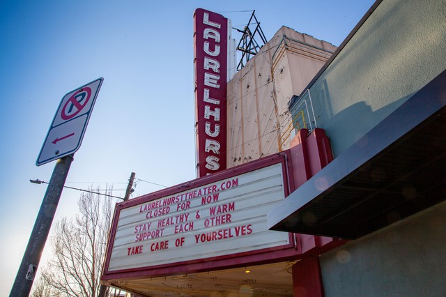 The Laurelhurst Theater's marqueeinPortland, Ore., on Thursday, March 19, 2020.The Laurelhurst, like many theaters across the nation, has temporarily closed its doors due to thenew coronavirus pandemic.