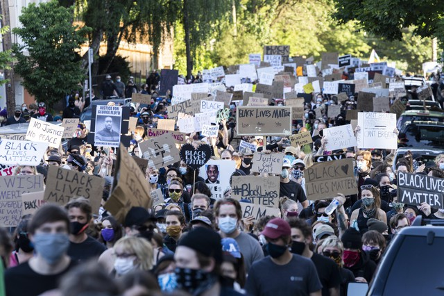 Massive crowds gathered in Portland on June 1, 2020, for protests over the killing of George Floyd, a Black man from Minneapolis who was killed after a police officer pushed his knee into his neck for nearly nine minutes.