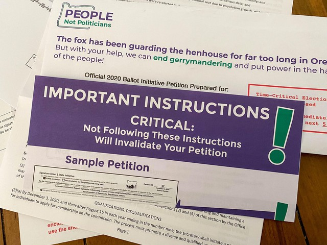 Thispackage was sent to a half-million Oregon households containing petitions for an initiative that would take congressional and legislative redistricting out of the hands of the Oregon Legislature.