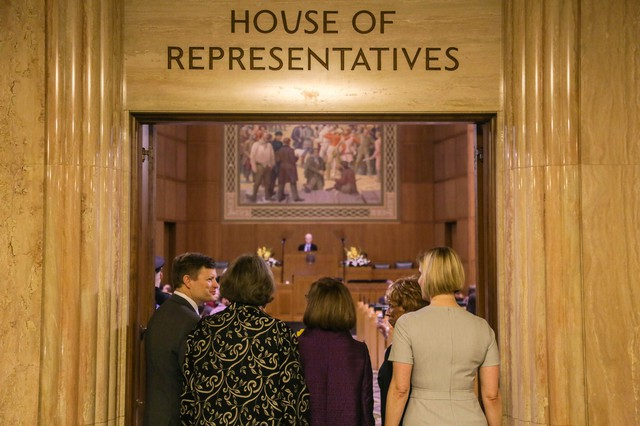 Oregon Gov. Kate Brown enters the House chamber for the 2018 State of the State address, Feb. 5, 2018.