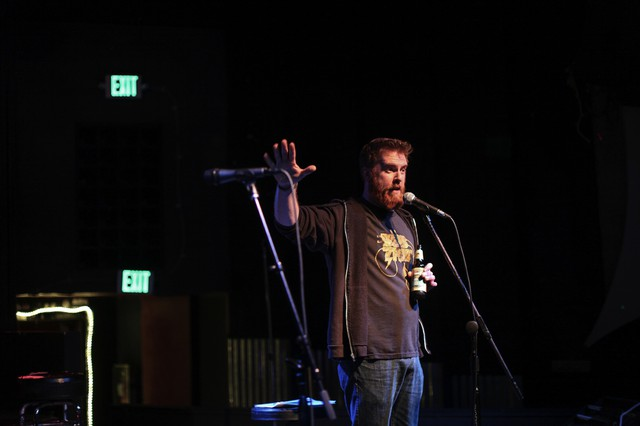 """Bryan Cook at """"Competitive Erotic Fan Fiction,"""" a perennial favorite of the festival-goers"""