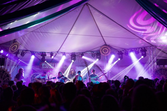 Portland-based folk-rock band Fruition closes out the 15th Annual Northwest String Summit with a two-hour concert in the colorfully lit Kinfolk Revival Tent.