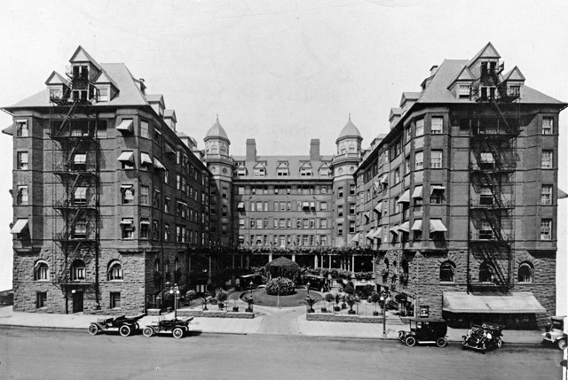 The Hotel Portland opened in 1890, facing east on Southwest Sixth Street (now Sixth Avenue), bordered by Morrison and Yamhill streets, with Broadway at its back. The renamed Portland Hotel closed 64 years ago this month. Pioneer Courthouse Square — affectionately known as Portland's living room — debuted in 1984 as a dedicated public plaza. An original archway, gatework and fencing from the hotel were incorporated into the square's design. Ca. 1910, automobiles traverse Sixth's relatively smooth pavement.