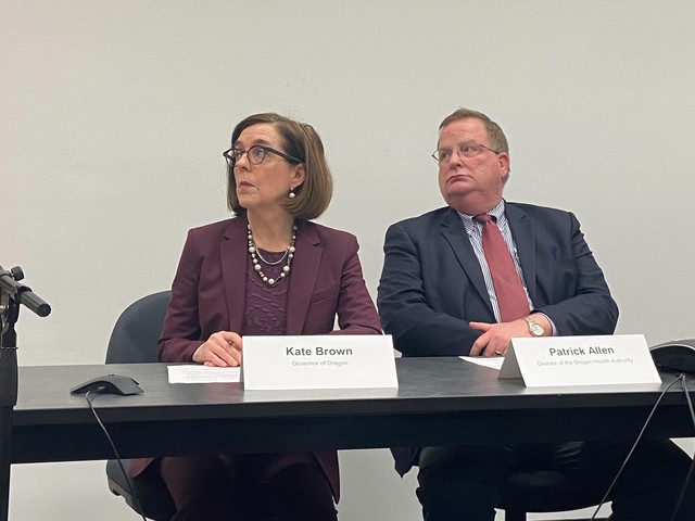 Gov. Kate Brown attends a press conference on Feb. 28, 2020 to discuss Oregon's first confirmed case of novel coronavirus.