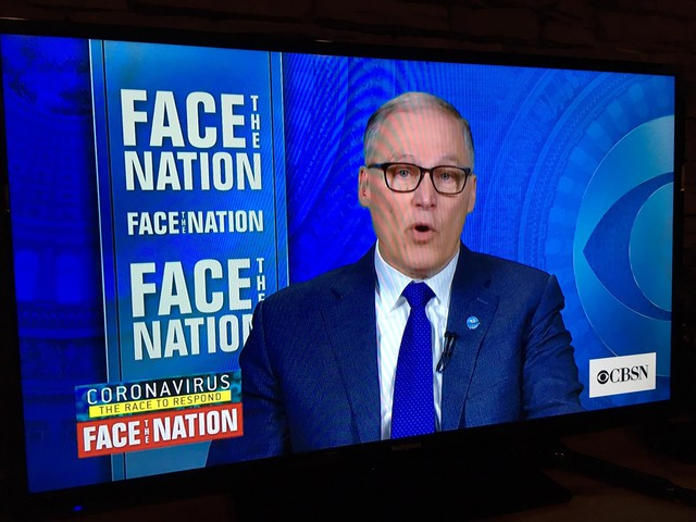 On CBS' 'Face the Nation' Gov. Jay Inslee hinted that he may soon order mandatory social distancing measures to stem the spread of coronavirus.