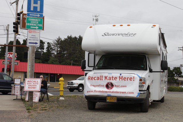 "Michael Cross, leader of the ""Flush Down Kate Brown"" campaign, traveled the state in a rented RV earlier this year."