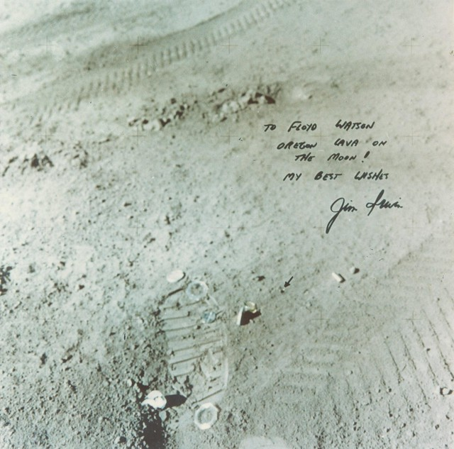 After Floyd Watson asked astronaut James Irwin to take a rock from Central Oregon to the moon, Irwin sent back this autographed photo.