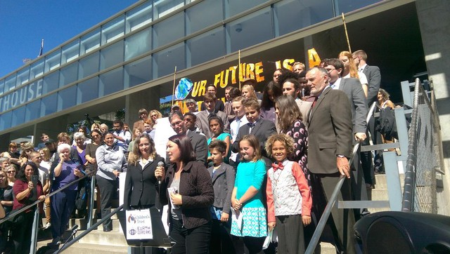Youth plaintiffs and their lawyers rallied and held a press conference on the steps of the Federal Courthouse in Eugene.